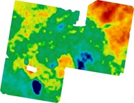 This map shows the gamma radiometric data for the same paddock